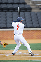 Anthony Gingerelli (7) of the Bucknell Bison at bat against the Georgetown Hoyas at Wake Forest Baseball Park on February 14, 2015 in Winston-Salem, North Carolina.  The Hoyas defeated the Bison 8-5.  (Brian Westerholt/Four Seam Images)