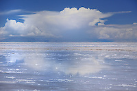 BOLIVIA - ALTIPLANO<br /> Impressions of UYUNI SALTLAKE in rainy season<br /> The huge white saltpan covered with heavy rainfall  looks like a shiny mirror of the sky in all rainbow colours<br /> <br /> Full size: 65,5 MB