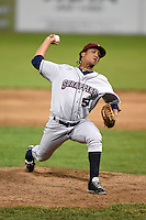 Mahoning Valley Scrappers pitcher Jose Zapata (51) delivers a pitch during a game against the Batavia Muckdogs on June 21, 2014 at Dwyer Stadium in Batavia, New York.  Batavia defeated Mahoning Valley 10-6.  (Mike Janes/Four Seam Images)