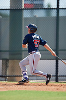 Atlanta Braves Logan Brown (57) follows through on a swing a Florida Instructional League game against the Philadelphia Phillies on October 5, 2018 at the Carpenter Complex in Clearwater, Florida.  (Mike Janes/Four Seam Images)
