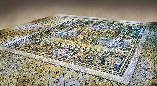 Roman mosaics - Women At Breakfast Mosaic. Zosimos Villa, Ancient Zeugama, 2nd - 3rd century AD . Zeugma Mosaic Museum, Gaziantep, Turkey.   Against an art background.