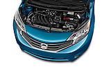High angle engine detail of a  2014 Nissan Versa Note SV SL Hatchback 2014 Nissan Versa Note SV SL Hatchback