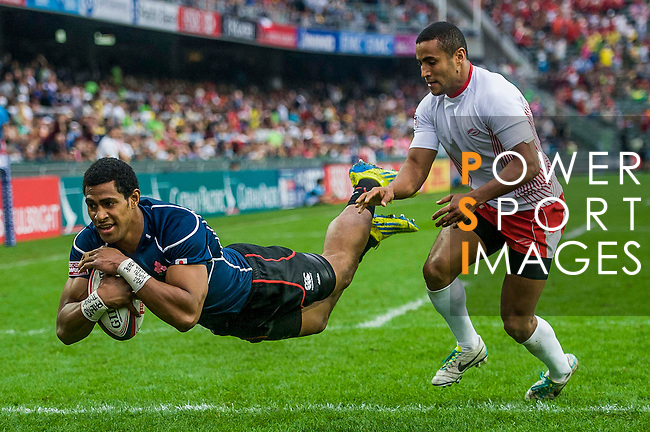 Japan vs Tunisia during the Cathay Pacific / HSBC Hong Kong Sevens at the Hong Kong Stadium on 29 March 2014 in Hong Kong, China. Photo by Juan Flor / Power Sport Images