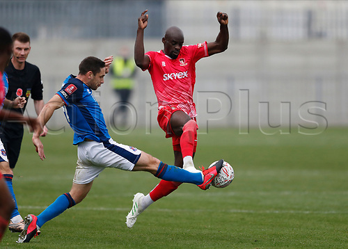 8th November 2020; SkyEx Community Stadium, London, England; Football Association Cup, Hayes and Yeading United versus Carlisle United; Joe Riley of Carlisle United challenges Sanmi Odelusi of Hayes & Yeading United