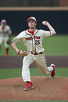 Dayton Flyers relief pitcher Eli Majick (25) in action against the Campbell Camels at Jim Perry Stadium on February 28, 2021 in Buies Creek, North Carolina. The Camels defeated the Flyers 11-2. (Brian Westerholt/Four Seam Images)