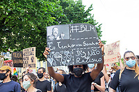 LISBON, PORTUGAL JUNE 06: Protesters hold up posters  against police violence during a protest against racism and in favor of respect for life in in Lisbon, on June 6, 2020. <br /> Protesters mourn the death of African-American George Floyd after a Minneapolis police officer knelt on his neck.<br /> (Photo by Luis Boza/VIEWpress)