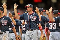 3 September 2012: Washington Nationals third baseman Ryan Zimmerman celebrates a win against the Chicago Cubs at Nationals Park in Washington, DC. The Nationals edged out the visiting Cubs 2-1, in the first game of heir 4-game series. Mandatory Credit: Ed Wolfstein Photo