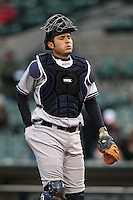 Scranton Wilkes-Barre Yankees catcher Jesus Montero #21 in the field during a game against the Rochester Red Wings at Frontier Field on April 12, 2011 in Rochester, New York.  Scranton defeated Rochester 5-3.  Photo By Mike Janes/Four Seam Images