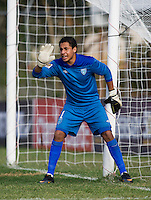 Johnny Navarro (1) of Guatemala yells to his team during the group stage of the CONCACAF Men's Under 17 Championship at Jarrett Park in Montego Bay, Jamaica. Trinidad & Tobago defeated Guatemala, 1-0.