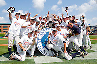 The Virginia Cavaliers celebrate after winning the 2011 ACC Baseball Championship by defeating the Florida State Seminoles 7-2 at the Durham Bulls Athletic Park on May 29, 2011 in Durham, North Carolina.  Photo by Brian Westerholt / Four Seam Images