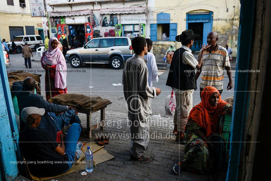 DJIBOUTI, old city, sale of chewing drug Khat/  DSCHIBUTI, Altstadt, Verkauf der Droge Khat