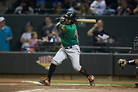 Yonny Hernandez (4) of the Down East Wood Ducks follows through on his swing against the Winston-Salem Dash at BB&T Ballpark on May 10, 2019 in Winston-Salem, North Carolina. The Wood Ducks defeated the Dash 9-2. (Brian Westerholt/Four Seam Images)