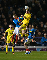 Fleetwood Town's Harry Souttar (right) battles with  Portsmouth's Ronan Curtis (left) <br /> <br /> Photographer David Horton/CameraSport<br /> <br /> The EFL Sky Bet League One - Portsmouth v Fleetwood Town - Tuesday 10th March 2020 - Fratton Park - Portsmouth<br /> <br /> World Copyright © 2020 CameraSport. All rights reserved. 43 Linden Ave. Countesthorpe. Leicester. England. LE8 5PG - Tel: +44 (0) 116 277 4147 - admin@camerasport.com - www.camerasport.com