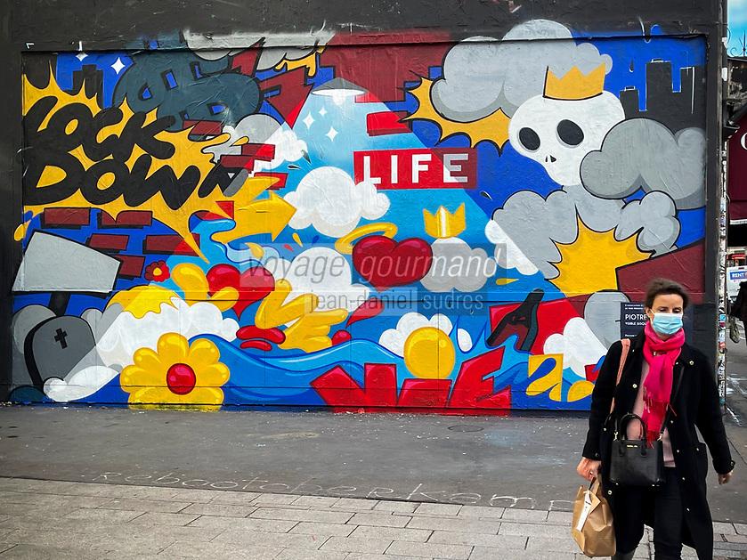 Europe/ Ile de France / Paris /75011 : Le mur d'Oberkampf, ce pari fou devenu une institution du street art parisien  sur l'immeuble de l'historique Café Charbon, L'association le M.U.R. (modulable, urbain, réactif Performance N°:318 de Piotre Graffeur Caennais - Oeuvre Protégée //  Europe / Ile de France / Paris / 75011: The Oberkampf wall, this crazy bet that has become an institution of Parisian street art on the building of the historic Café Charbon, the M.U.R. (modular, urban, responsive Performance N °: 318 by Piotre Graffeur Caennais - Protected Work