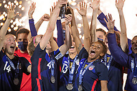 ORLANDO CITY, FL - FEBRUARY 24: Crystal Dunn #19 of the USWNT celebrates the She Believes Cup during a game between Argentina and USWNT at Exploria Stadium on February 24, 2021 in Orlando City, Florida.
