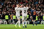 Real Madrid's Federico Valverde (L) and Dani Carvajal (R) celebrate goal during La Liga match between Real Madrid and Valencia CF at Santiago Bernabeu Stadium in Madrid, Spain. December 01, 2018. (ALTERPHOTOS/A. Perez Meca)