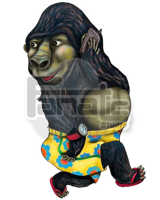 Illustration of gorilla on call over white background