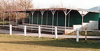 Covered terrace at Badgers Hill, home of Frome Town FC (Somerset), pictured in February 1988 - Gavin Ellis/TGSPHOTO - Self billing applies where appropriate - 0845 094 6026 - contact@tgsphoto.co.uk - NO UNPAID USE.