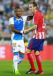 CD Leganes' Claudio Beauvue (l) and Atletico de Madrid's Diego Godin during La Liga match. September 30,2017. (ALTERPHOTOS/Acero)