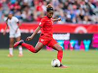CARSON, CA - FEBRUARY 9: Kadeisha Buchanan #3 of Canada passes the ball during a game between Canada and USWNT at Dignity Health Sports Park on February 9, 2020 in Carson, California.