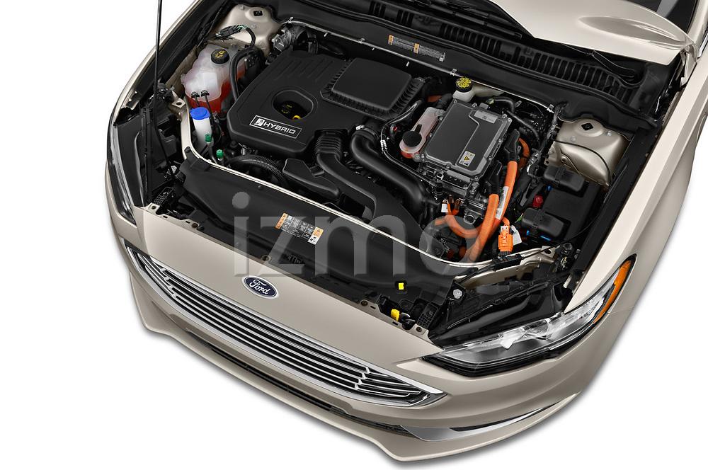 Car stock 2018 Ford Fusion Hybrid SE 4 Door Sedan engine high angle detail view
