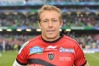 Jonny Wilkinson of RC Toulon enjoys the moment after winning the Heineken Cup Final between ASM Clermont Auvergne and RC Toulon at the Aviva Stadium, Dublin on Saturday 18th May 2013 (Photo by Rob Munro)