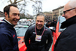 Jim Ochowicz BMC Racing Team President and General Manager and former sprinter Eric Zabel (GER) share a joke at the start of the 104th edition of the Milan-San Remo cycle race at Castello Sforzesco in Milan, 17th March 2013 (Photo by Eoin Clarke 2013)
