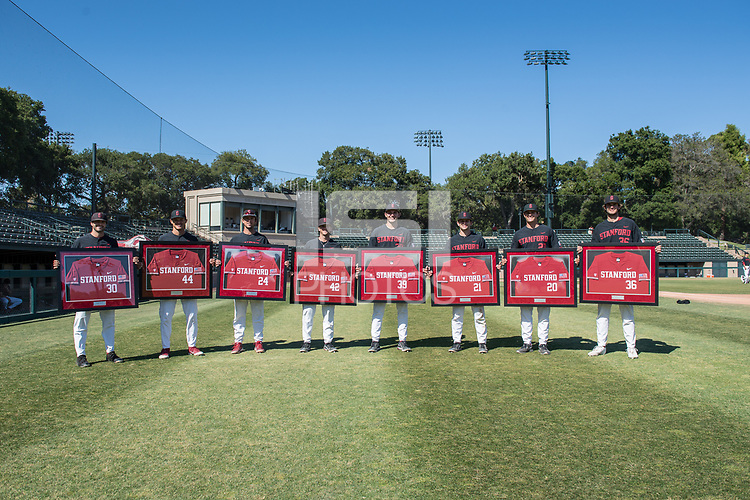 STANFORD, CA - MAY 29: Zach Grech, Christian Robinson, Nick Brueser, Austin Weiermiller, Jacob Palisch, Tim Tawa, Brendan Beck, Jonathan Worley after a game between Oregon State University and Stanford Baseball at Sunken Diamond on May 29, 2021 in Stanford, California.