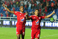 CALI -COLOMBIA-07-03-2016. Feiver Mercado (Der) América de Cali celebra después de anotar un gol a Universitario de Popayán durante partido por la fecha 4 del Torneo Águila 2016 jugado en el estadio Ciro Lopez de Popayán./ Feiver Mercado (R) player of America de Cali celebrates after scoring a goal to Universitario de Popayan during match for the date 4 of the Aguila Tournament 2015 played at Ciro Lopez stadium in Popayan. Photo: VizzorImage/ NR /