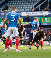 Milton Keynes Dons' Louis Thompson (right) is fouled by Portsmouth's Bryn Morris resulting in a penalty<br /> <br /> Photographer David Horton/CameraSport<br /> <br /> The EFL Sky Bet League One - Portsmouth v Milton Keynes Dons - Saturday 10th October 2020 - Fratton Park - Portsmouth<br /> <br /> World Copyright © 2020 CameraSport. All rights reserved. 43 Linden Ave. Countesthorpe. Leicester. England. LE8 5PG - Tel: +44 (0) 116 277 4147 - admin@camerasport.com - www.camerasport.com