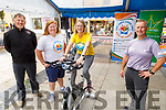 Tomas Crowley (Tralee Chain Gang), Linda Daly (Kerry Cancer Support Group), Siobhan McSweeney on the bike and Denis Walsh at the Celebrate4Life Stationary Bike-athon fundraiser in Tralee on Friday.