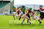 Maurice O'Connor, Kerry in action against Michael Hughes, Down during the National hurling league between Kerry v Down at Austin Stack Park, Tralee on Sunday.
