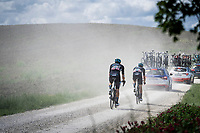 """Nico Denz (DEU/DSM) & Max Kanter (DEU/DSM) chasing the peloton on the first gravel sector of the stage<br /> <br /> 104th Giro d'Italia 2021 (2.UWT)<br /> Stage 11 from Perugia to Montalcino (162km)<br /> """"the Strade Bianche stage""""<br /> <br /> ©kramon"""