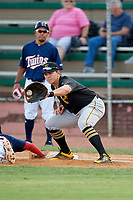 Bristol Pirates first baseman Mason Martin (3) receives a pick off throw during a game against the Elizabethton Twins on July 28, 2018 at Joe O'Brien Field in Elizabethton, Tennessee.  Elizabethton defeated Bristol 5-0.  (Mike Janes/Four Seam Images)