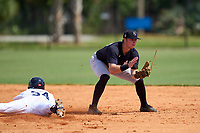 FCL Yankees shortstop Trey Sweeney (33) fields a throw as Chris Meyers (34) slides into second base during a game against the FCL Tigers West on July 31, 2021 at Tigertown in Lakeland, Florida.  (Mike Janes/Four Seam Images)