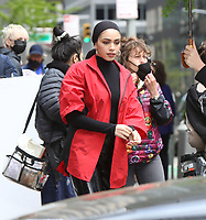NEW YORK, NY- April 27: Beauty blogger Nura Afia seen shooting a Maybelline commercial in New York City on April 27, 2021. <br /> CAP/MPI/RW<br /> ©RW/MPI/Capital Pictures