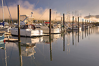 Boats and fog in harbor in Garabali. Oregon