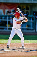 Troy Montgomery (4) of the Orem Owlz at bat against the Grand Junction Rockies in Pioneer League action at Home of the Owlz on July 6, 2016 in Orem, Utah. The Owlz defeated the Rockies 9-1 in Game 1 of the double header.  (Stephen Smith/Four Seam Images)