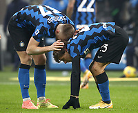 Calcio, Serie A: Inter Milano - Juventus FC , Giuseppe Meazza (San Siro) stadium, in Milan, January 17, 2021.<br /> Inter's Nicolò Barella (r) celebrates after scoring with his teammate Milan Skriniar  (l) during the Italian Serie A football match between Inter and juventus at Giuseppe Meazza (San Siro) stadium, January 17,  2021.<br /> UPDATE IMAGES PRESS/Isabella Bonotto