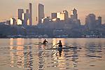 Rowing, Seattle, Lake Union, Pocock Rowing Foundation, elite rowers, sunrise, winter
