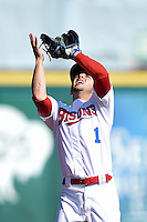 Buffalo Bisons shortstop Jonathan Diaz (1) catches a foul pop up during a game against the Lehigh Valley IronPigs on May 17, 2014 at Coca-Cola Field in Buffalo, New  York.  Lehigh Valley defeated Buffalo 2-1  (Mike Janes/Four Seam Images)