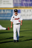 Tri-City ValleyCats Austin Dennis (16) warms up before a game against the Vermont Lake Monsters on June 16, 2018 at Joseph L. Bruno Stadium in Troy, New York.  Vermont defeated Tri-City 6-2.  (Mike Janes/Four Seam Images)