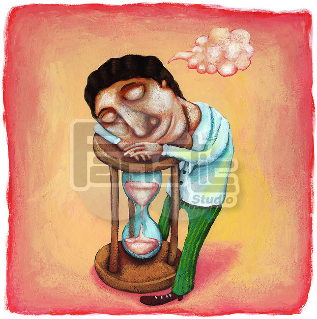 Illustrative image of businessman sleeping on hourglass representing procrastination