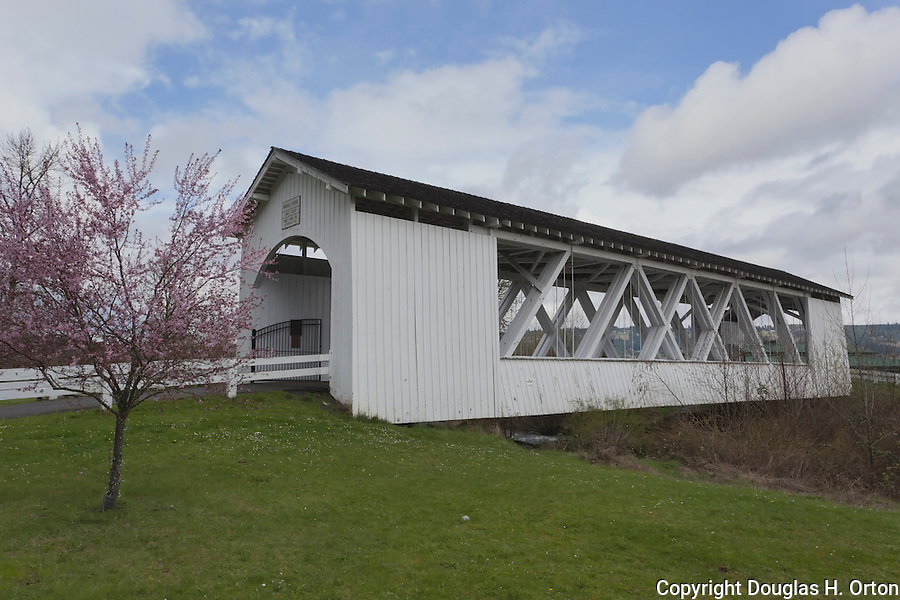 Weddle  Covered Bridge, Circa 1937, Rebuilt 1990, overthe Ames Creek in Linn County Oregon.