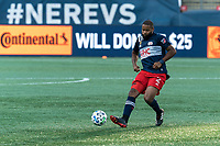 FOXBOROUGH, MA - SEPTEMBER 23: Andrew Farrell #2 of New England Revolution passes the ball during a game between Montreal Impact and New England Revolution at Gillette Stadium on September 23, 2020 in Foxborough, Massachusetts.