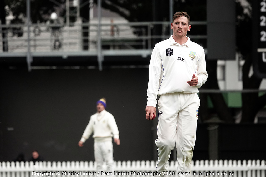 Nathan Smith prepares to bowl during day four of the Plunket Shield match between the Wellington Firebirds and Otago Volts at Basin Reserve in Wellington, New Zealand on Sunday, 8 November 2020. Photo: Charley Lintott / lintottphoto.co.nz