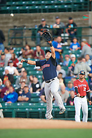 Scranton/Wilkes-Barre RailRiders first baseman Ji-Man Choi (36) stretches for a throw during the first game of a doubleheader against the Rochester Red Wings on August 23, 2017 at Frontier Field in Rochester, New York.  Rochester defeated Scranton 5-4 in a game that was originally started on August 22nd but was postponed due to inclement weather.  (Mike Janes/Four Seam Images)