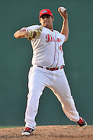 Starting pitcher Dedgar Jimenez (47) of the Greenville Drive delivers a pitch in a game against the Augusta GreenJackets on Thursday, June 9, 2016, at Fluor Field at the West End in Greenville, South Carolina. Augusta won, 8-2. (Tom Priddy/Four Seam Images)