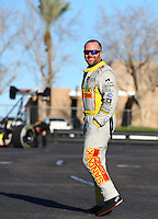 Feb 3, 2016; Chandler, AZ, USA; NHRA top fuel driver Shawn Langdon during pre season testing at Wild Horse Pass Motorsports Park. Mandatory Credit: Mark J. Rebilas-USA TODAY Sports