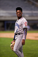 Lake County Captains left fielder Hosea Nelson (6) jogs off the field between innings of a Midwest League game against the Beloit Snappers at Pohlman Field on May 6, 2019 in Beloit, Wisconsin. Lake County defeated Beloit 9-1. (Zachary Lucy/Four Seam Images)